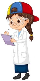 Menina escrevendo notas em branco