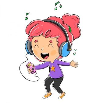 Menina, escutar música, com, fones