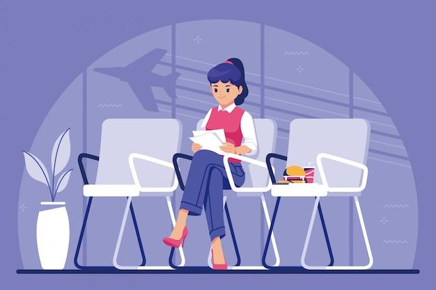 Menina esperando no fundo de ilustração de aeroporto
