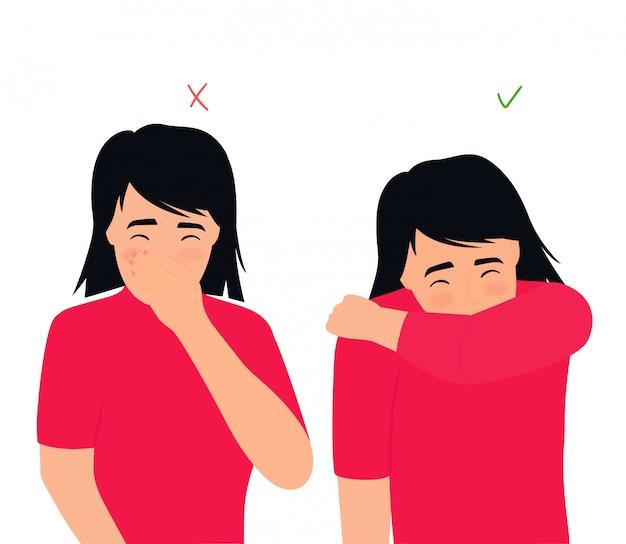 Menina espirra e tosse certo e errado. os sintomas de gripes e resfriados. doença respiratória. corrimento nasal em uma criança.