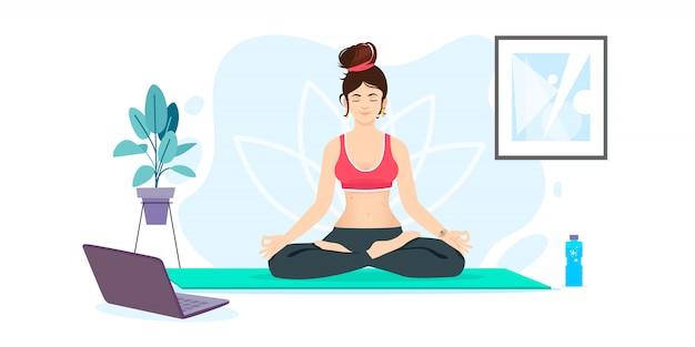 Menina está assistindo aulas on-line no laptop, praticando ioga, meditação. mulher fazendo ilustração de atividade em casa
