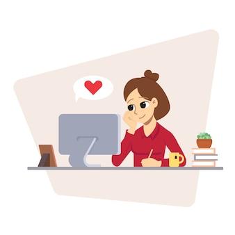 Menina está localizando com o laptop. feminino usa mídia social. dê uma massagem com o coração.