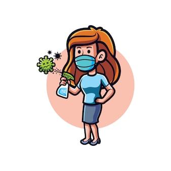 Menina estéril dos desenhos animados