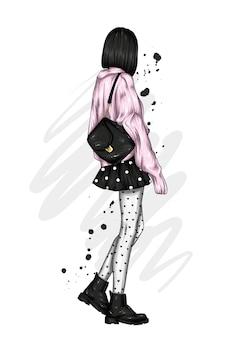 Menina estilosa com lindas roupas