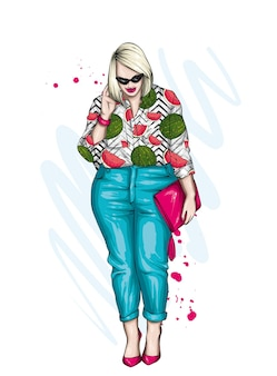 Menina estilosa e plus size com lindas roupas