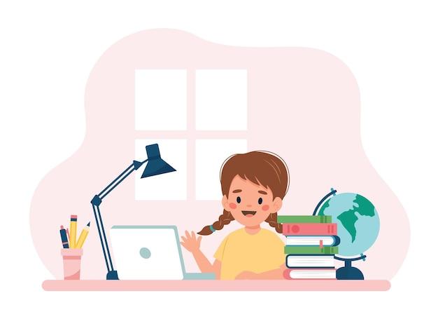 Menina estudando com computador e livros. conceito de ilustração vetorial no estilo cartoon