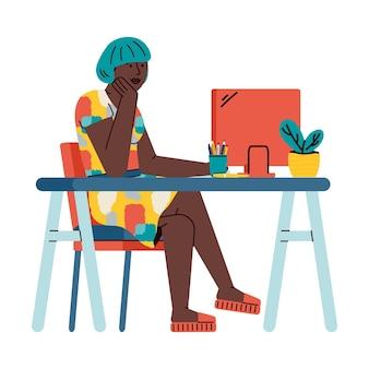 Menina estudando remotamente on-line usando o desenho do laptop