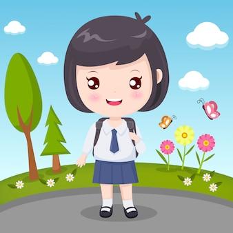 Menina estudante com cabelo preto