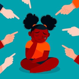 Menina experimentando racismo