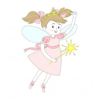 Menina fada com uma varinha mágica