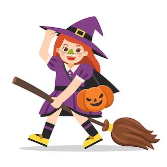 Menina fantasiada de bruxa com cesta de abóbora para doces ou travessuras em fundo branco. feliz dia das bruxas.