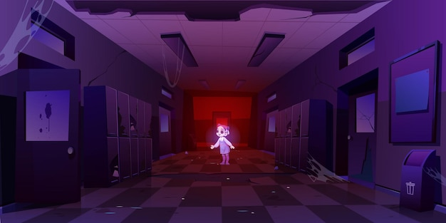 Menina fantasma no corredor da velha escola suja à noite