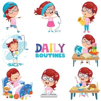 Menina fazendo atividades de rotina diárias