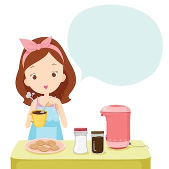 Menina fazendo café para beber com balão de fala, utensílios de cozinha, louças