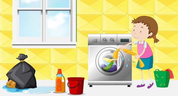Menina, fazendo lavanderia, em, a, sala