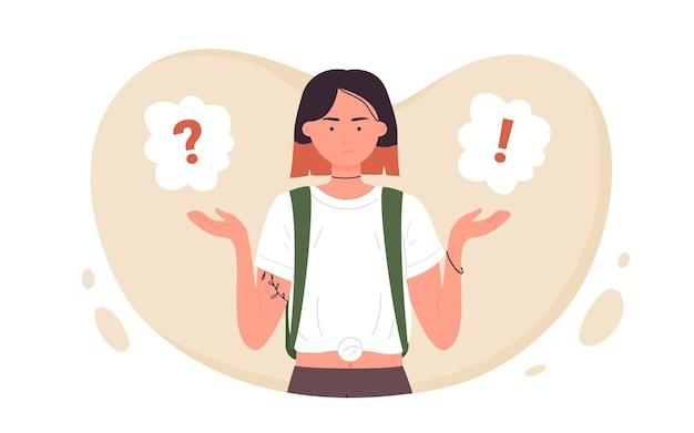 Menina fazendo pergunta dilema conceito adolescente em pé perto da pergunta e ponto de exclamação