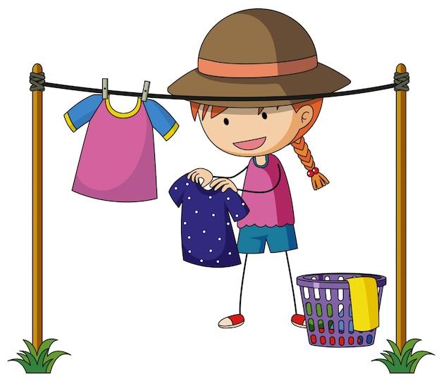 Menina fazendo roupa fora