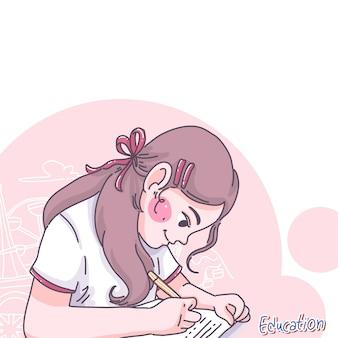 Menina fazer lição de casa. desenho de personagem de desenho animado