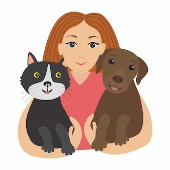 Menina feliz abraçando seu gato e cachorro. crianças e animais de estimação.