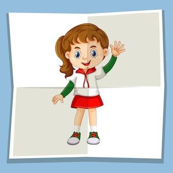 Menina feliz acenando com a mão