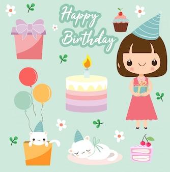 Menina feliz aniversário com elementos clip art vector