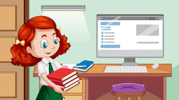 Menina feliz ao lado da mesa de estudo
