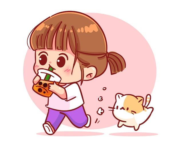 Menina feliz bebendo chá com leite com bolhas de ar ilustração dos desenhos animados