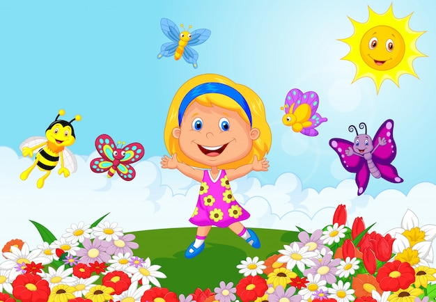 Menina feliz correndo no campo de flores
