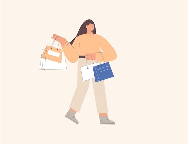 Menina feliz dos desenhos animados com uma sacola de compras, uma pessoa viciada em compras
