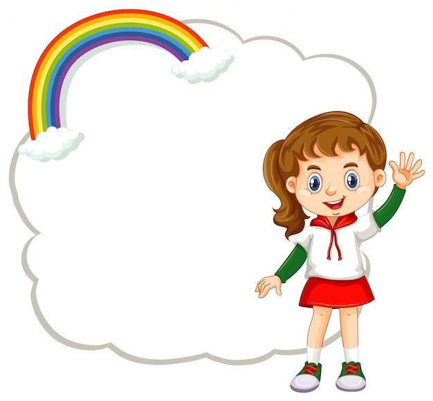Menina feliz e banner de nuvem