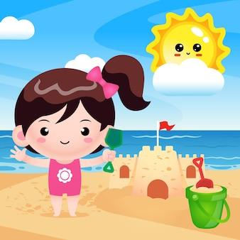 Menina feliz e fofa construindo castelo de areia
