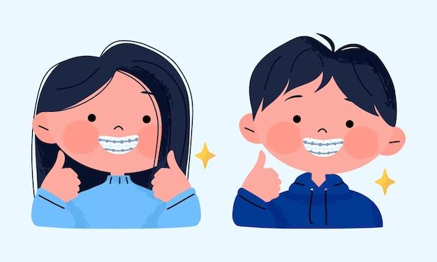 Menina feliz e sorridente com aparelho dentário e mostrando os polegares para cima.