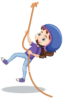 Menina feliz, escalando a corda no fundo branco