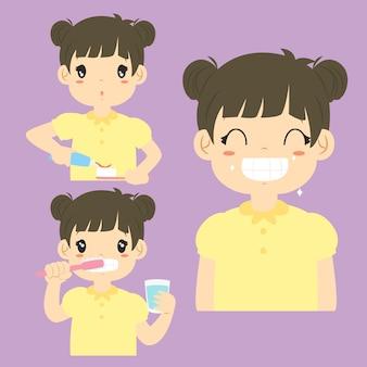 Menina feliz escovando a coleção de vetores de desenhos animados de atividade de dentes.