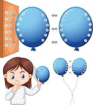 Menina feliz experimentando eletrostática com balão