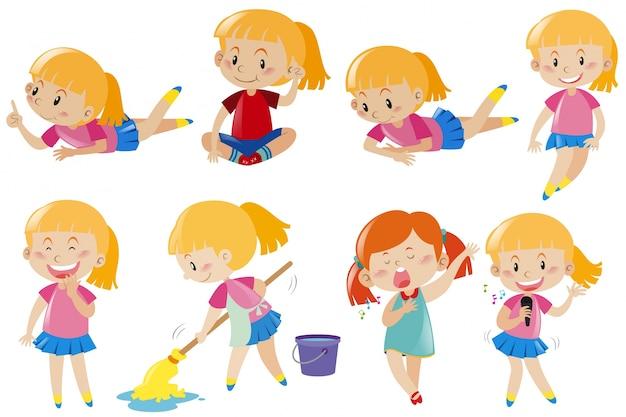 Menina feliz fazendo atividades diferentes