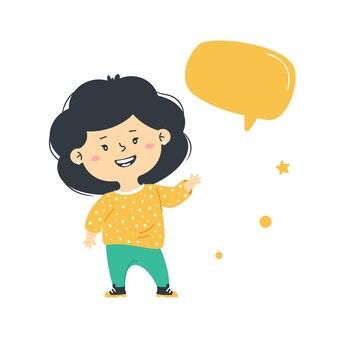 Menina feliz fica de pé. bolha de conversação. mensagem de informação infantil.