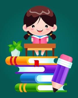 Menina feliz lendo livro em uma pilha de livros
