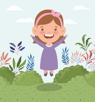 Menina feliz na paisagem de campo