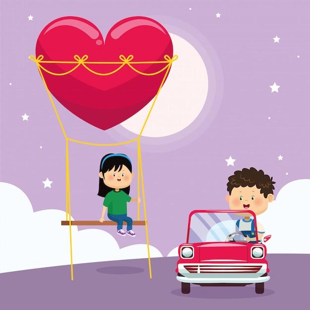 Menina feliz no balanço do coração e menino no carro clássico