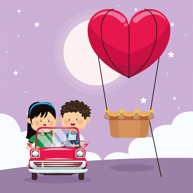 Menina feliz no carro clássico e coração balão de ar quente