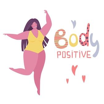 Menina feliz plus size com smartphone de biquíni. conceito positivo de corpo feliz. todos os corpos são bons textos. mulher atraente com sobrepeso. para movimento de aceitação de gordura. ilustração vetorial em fundo branco