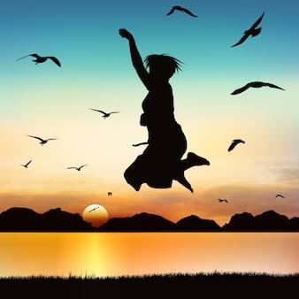 Menina feliz que salta, na arte da silhueta.