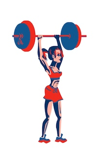 Menina fisiculturista levanta uma barra com um grande peso, treinamento esportivo na academia, ilustração vetorial de desenho animado