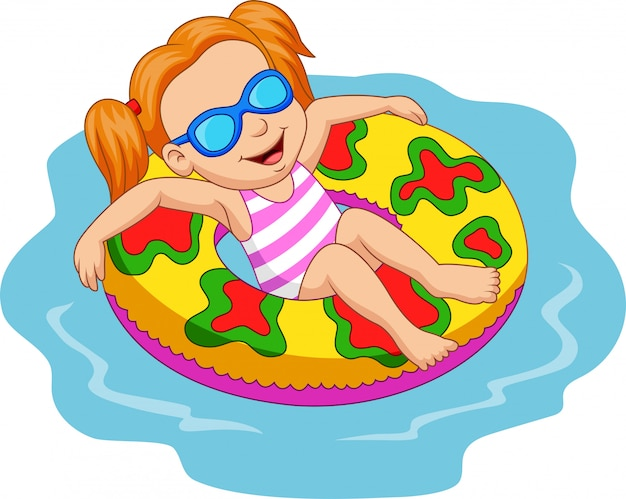 Menina flutuando com anel inflável