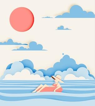 Menina flutuando na praia com o estilo de corte de papel de fundo lindo mar