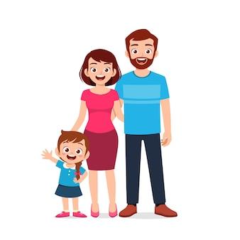 Menina fofa com a mãe e o pai juntos