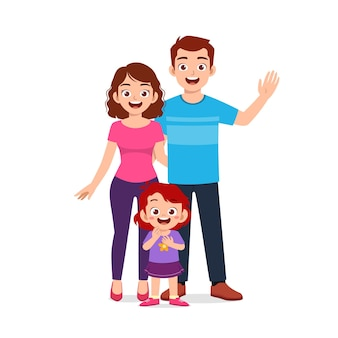 Menina fofa com a mãe e o pai juntos Vetor Premium