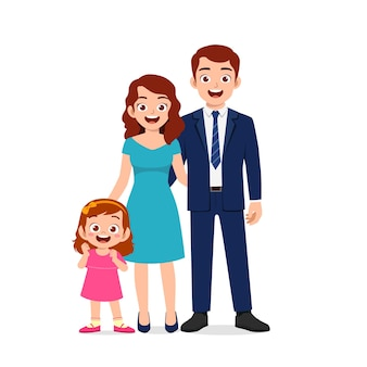 Menina fofa com ilustração de mãe e pai juntos