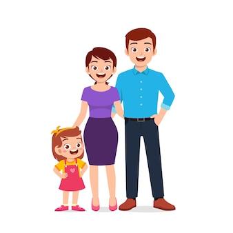 Menina fofa com ilustração de mamãe e papai juntos